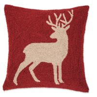 Colton Buck Hooked Square Throw Pillow in Red