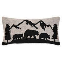 Black Bear Mountain Hooked Throw Pillow in Grey
