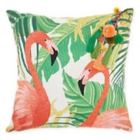 Mina Victory By Nourison Tropical Flamingo Square Throw Pillow in Green