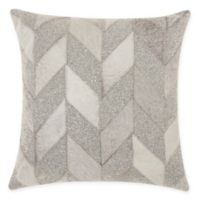 Mina Victory By Nourison Shimmer Chevron Square Throw Pillow in White/Silver