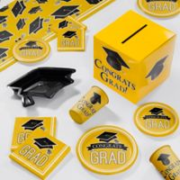 Creative Converting Graduation School Spirit 129-Piece Deluxe Party Supplies Kit in Yellow