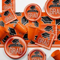 Creative Converting Graduation School Spirit 129-Piece Party Supplies Kit in Orange