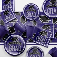 Creative Converting Graduation School Spirit 129-Piece Party Supplies Kit in Purple