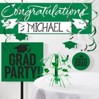 Creative Converting Graduation School Spirit 11-Piece Party Decorations Kit in Green