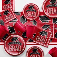 Creative Converting Graduation School Spirit 129-Piece Party Supplies Kit in Red