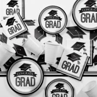 Creative Converting Graduation School Spirit 129-Piece Party Supplies Kit in White