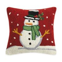 Snowman Hand Hooked Square Throw Pillow in Red