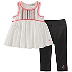 Calvin Klein Size 4T 2-Piece Embroidered Ribbon Pant Set in White