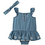 Calvin Klein® Size 0-3M 2-Piece Chambray Romper and Headband Set