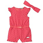 Calvin Klein Size 3-6M 2-Piece Romper and Headband Set in Coral