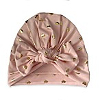 Stars & Dreamers Newborn Turban with Gold Foil Hearts in Pink