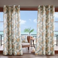 Madison Park Coco Leaf 3M Scotchgard 108-Inch Grommet Top Outdoor Curtain Panel in Green