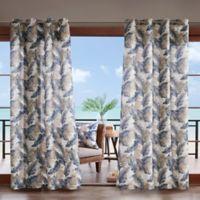 Madison Park Coco Leaf 3M Scotchgard 108-Inch Grommet Top Outdoor Curtain Panel in Indigo