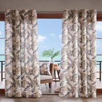 Madison Park Coco Leaf 3M Scotchgard 108-Inch Grommet Top Outdoor Curtain Panel in Neutral