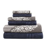 Linum Home Textiles 6-Piece Gioia and Denzi Bath Towel Set in Navy/Brown