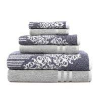 Linum Home Textiles 6-Piece Gioia and Denzi Bath Towel Set in Grey/Blue