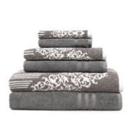 Linum Home Textiles 6-Piece Gioia and Denzi Bath Towel Set in Charcoal/Brown