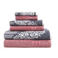 Linum Home Textiles 6-Piece Gioia and Denzi Bath Towel Set Pink/Blue