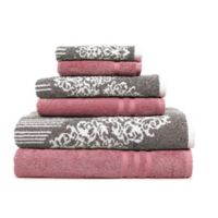 Linum Home Textiles 6-Piece Gioia and Denzi Bath Towel Set in Pink/Brown