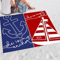 Sail and Anchor Nautical Couple Beach Blanket