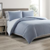 Real Simple® DUO Clipped Jacquard Butterfly King Coverlet/Duvet Cover Set in Blue