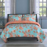 Watercolor Garden 2-Piece Reversible Twin Comforter Set in Orange