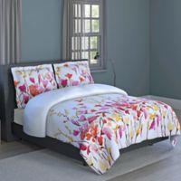 Flower Print 3-Piece Reversible Full Comforter Set in Orange