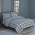 Plaid Print 2-Piece Reversible Twin Comforter Set in Black
