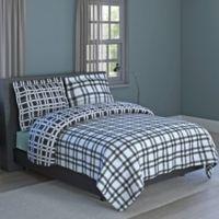 Plaid Print 3-Piece Reversible Full Comforter Set in Black