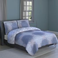 Ava Medallion 2-Piece Reversible Twin Comforter Set in Grey