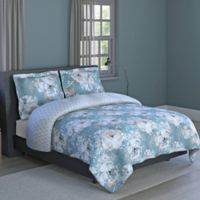 Sara Floral 2-Piece Reversible Full/Queen Comforter Set in Blue