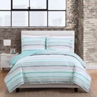 Dayton Stripe 3-Piece King Comforter Set in Aqua