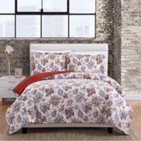 Magnolia 3-Piece Full/Queen Comforter Set in White/Red