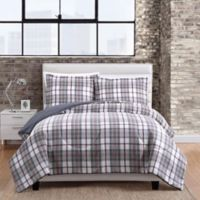 Twill Plaid 3-Piece Full/Queen Comforter Set in Berry
