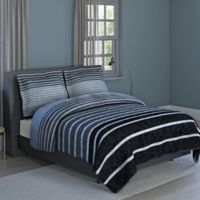 Harper Stripe 2-Piece Twin Comforter Set in Grey