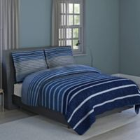 Harper Stripe 3-Piece King Comforter Set in Blue