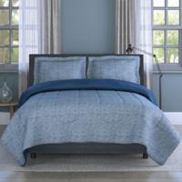 Grid 3-Piece Reversible Queen Comforter Set in Blue