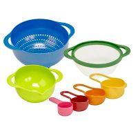 Multicolor Nested 7-Piece Colander, Mixing Bowl, Strainer, and Measuring Cups Set