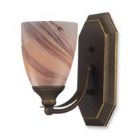 ELK Lighting 1-Light Vanity Light in Aged Bronze with Creme Glass
