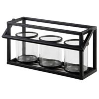 4-Piece Black Metal Candle Holder Set