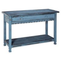 Alaterre Country Cottage Media Console Table in Antique Blue