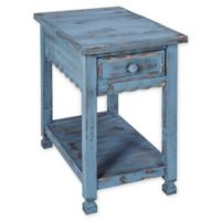 Alaterre Country Cottage Chairside Table in Antique Blue