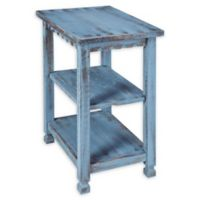 Alaterre Country Cottage 2-Shelf End Table in Antique Blue