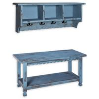 Alaterre Country Cottage Coat Hooks and Bench Set in Antique Blue