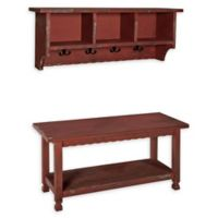 Alaterre Country Cottage Coat Hooks and Bench Set in Antique Red