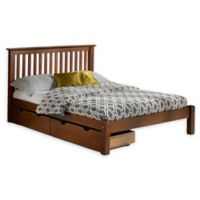 Alaterre Barcelona Full Platform Bed with Storage Drawers in Chestnut