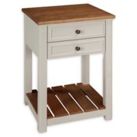 Alaterre Savannah 2-Drawer End Table in Ivory/Natural