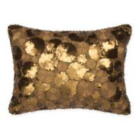 Golden Circles Oblong Throw Pillow in Gold