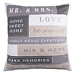 Mr. and Mrs. Rules Square Throw Pillow in Grey
