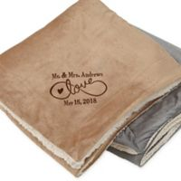 Warmhearted Wedding 60-Inch x 72-Inch Embroidered Sherpa Blanket